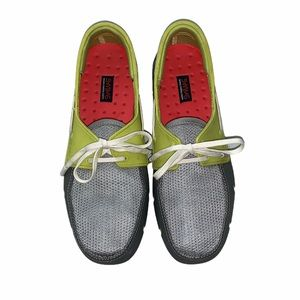 SWIMS grey yellow lace up loafer shoes US 7 UK 6